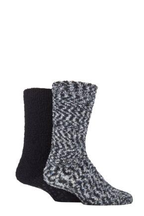 Men's 2 Pair SOCKSHOP Cosy Slipper Socks with Grip Grey / Black 7-11 Mens