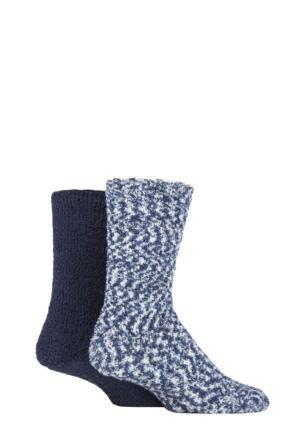Men's 2 Pair SOCKSHOP Cosy Slipper Socks with Grip
