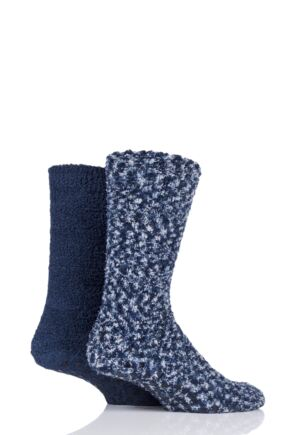 Mens 2 Pair SockShop Cosy Slipper Socks Navy 7-11 Mens