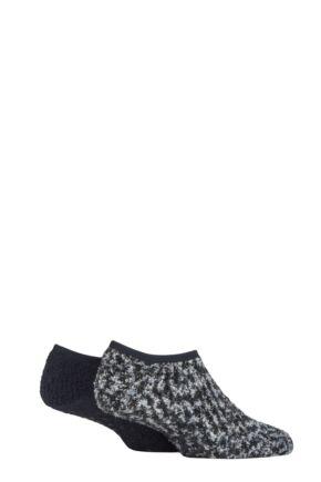 Men's 2 Pair SOCKSHOP Cosy Low Cut Slipper Socks with Grip