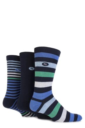Mens 3 Pair SockShop Striped Half Cushioned Comfort Cuff Socks Navy 6-11