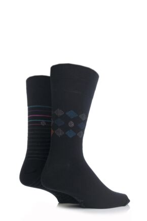 Mens 2 Pair SockShop Diamond and Striped Patterned Comfort Cuff Socks In Black 25% OFF This Style