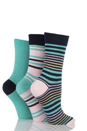 Ladies 3 Pair SockShop Comfort Cuff Bamboo Striped and Plain Socks