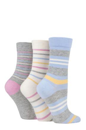 Ladies 3 Pair SOCKSHOP Gentle Bamboo Socks with Smooth Toe Seams in Plains and Stripes