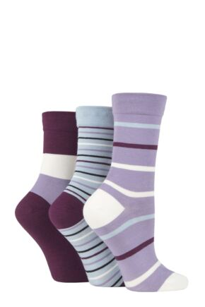 Ladies 3 Pair SOCKSHOP Gentle Bamboo Socks with Smooth Toe Seams in Plains and Stripes Kentucky Blue Stripes 4-8 Ladies