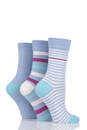 Ladies 3 Pair SOCKSHOP Gentle Bamboo Socks with Smooth Toe Seams in Plains and Stripes Cornflower 4-8