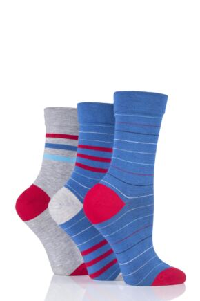 Ladies 3 Pair SockShop Gentle Bamboo Socks with Smooth Toe Seams in Plains and Stripes