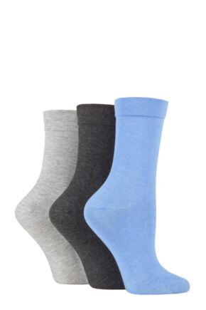 Ladies 3 Pair SOCKSHOP Gentle Bamboo Socks with Smooth Toe Seams in Plains and Stripes Blue / Light Grey / Charcoal 4-8 Ladies