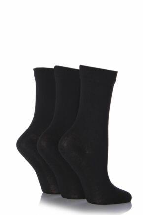 Ladies 3 Pair SOCKSHOP Gentle Bamboo Socks with Smooth Toe Seams in Plains and Stripes Black 7-11 Ladies