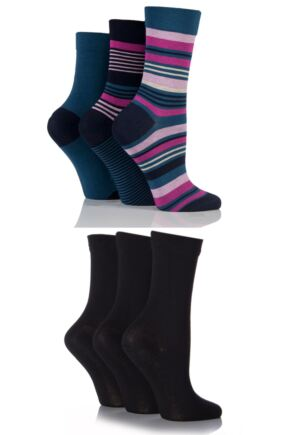 Ladies 6 Pair SockShop Comfort Cuff Bamboo Socks with Smooth Toe Seams