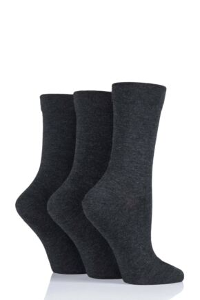 Ladies 3 Pair SockShop Gentle Bamboo Socks with Smooth Toe Seams in Plains and Stripes Grey