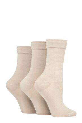 Ladies 3 Pair SOCKSHOP Gentle Bamboo Socks with Smooth Toe Seams in Plains and Stripes Natural 4-8