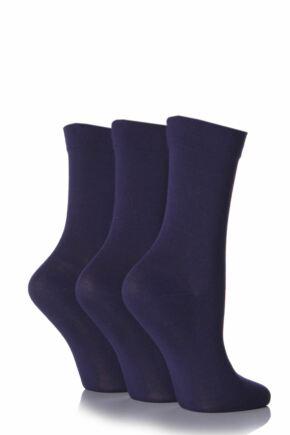 Ladies 3 Pair SOCKSHOP Gentle Bamboo Socks with Smooth Toe Seams in Plains and Stripes Navy 7-11 Ladies