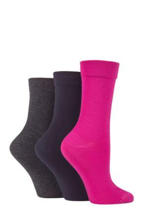 Ladies 3 Pair SOCKSHOP Gentle Bamboo Socks with Smooth Toe Seams in Plains and Stripes Pink / Charcoal / Navy 4-8 Ladies