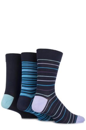 Mens 3 Pair SockShop Comfort Cuff Bamboo Striped and Plain Socks Navy / Primary Cyan 7-11