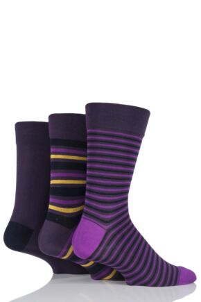 Mens 3 Pair SockShop Comfort Cuff Bamboo Striped and Plain Socks Navy / Aubergine 7-11