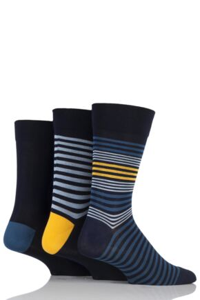 Mens 3 Pair SockShop Comfort Cuff Bamboo Striped and Plain Socks Cosmic Blue / Dark Amethyst 7-11 Mens