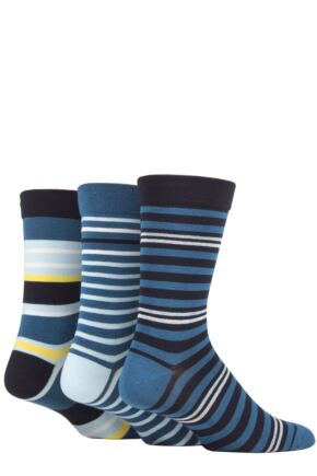 Mens 3 Pair SOCKSHOP Comfort Cuff Gentle Bamboo Striped Socks with Smooth Toe Seams Dream Blue 7-11