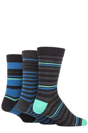 Mens 3 Pair SOCKSHOP Comfort Cuff Gentle Bamboo Striped Socks with Smooth Toe Seams Peacock 7-11