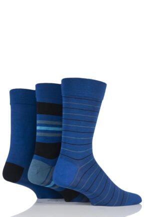 Mens 3 Pair SockShop Comfort Cuff Bamboo Striped and Plain Socks Deep Sea 12-14