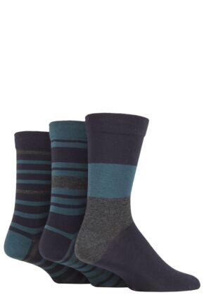 Mens 3 Pair SOCKSHOP Comfort Cuff Gentle Bamboo Striped Socks with Smooth Toe Seams Navy / Bottle Green 12-14 Mens
