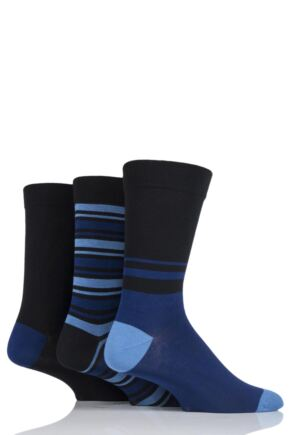 Mens 3 Pair SockShop Gentle Grip Bamboo Striped and Plain Socks with Smooth Toe Seams Black / Blue 7-11