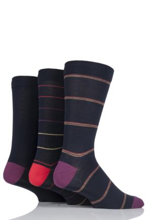 Mens 3 Pair SOCKSHOP Comfort Cuff Gentle Bamboo Striped and Plain Socks with Smooth Toe Seams