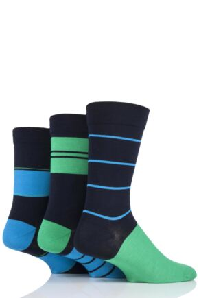 Mens 3 Pair SOCKSHOP Comfort Cuff Gentle Bamboo Striped Socks with Smooth Toe Seams Azurite 7-11