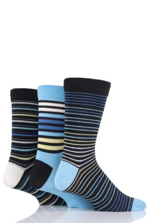 Mens 3 Pair SOCKSHOP Comfort Cuff Gentle Bamboo Striped Socks with Smooth Toe Seams Cool Neon 7-11 Mens