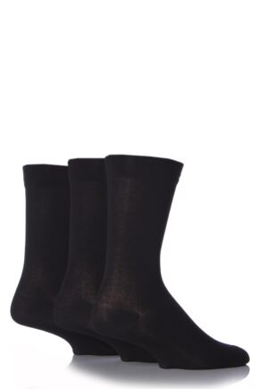 Mens 3 Pair SockShop Comfort Cuff Plain Gentle Bamboo Socks with Smooth Toe Seams Black 12-14