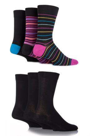 Mens 6 Pair SockShop Comfort Cuff Plain Bamboo Socks with Smooth Toe Seams