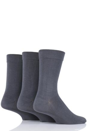 Mens 3 Pair SockShop Comfort Cuff Plain Gentle Bamboo Socks with Smooth Toe Seams Grey 7-11