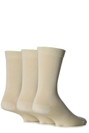 Mens 3 Pair SockShop Comfort Cuff Plain Gentle Bamboo Socks with Smooth Toe Seams Natural 12-14