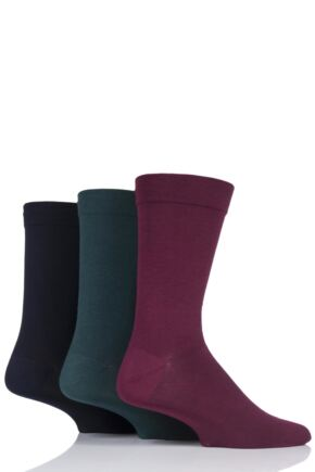 Mens 3 Pair SOCKSHOP Comfort Cuff Plain Gentle Bamboo Socks with Smooth Toe Seams