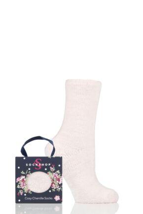 Ladies 1 Pair SOCKSHOP Chenille Gift Boxed Socks Pearl Pink 4-8 Ladies