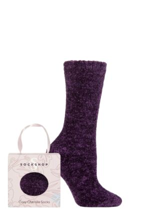 Ladies 1 Pair SOCKSHOP Chenille & Cosy Gift Boxed Socks Blackbird 4-8 Ladies