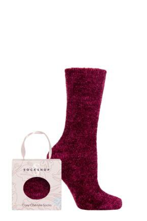 Ladies 1 Pair SOCKSHOP Chenille & Cosy Gift Boxed Socks Raspberry Joy 4-8 Ladies