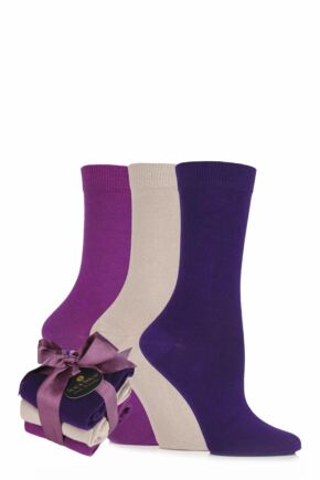 Ladies 3 Pair SOCKSHOP Cotton Socks Bundle with Gift Wrapped Bow