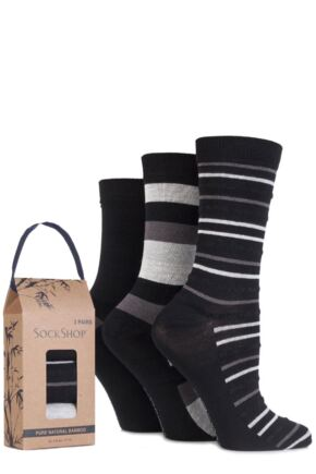 Ladies 3 Pair SockShop Gift Boxed Bamboo and Feather Striped Socks
