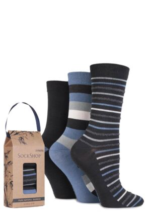 Ladies 3 Pair SockShop Gift Boxed Bamboo and Feather Striped Socks Carbon Frame 4-8