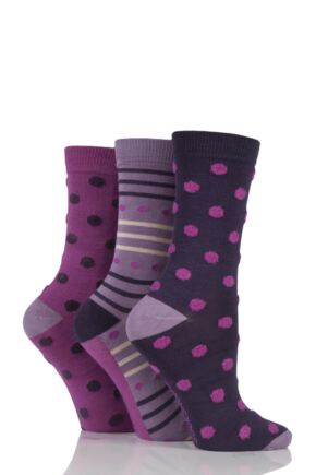 Ladies 3 Pair SockShop Feathered Spot Bamboo Socks In Gift Box Deep Fuchsia 4-8