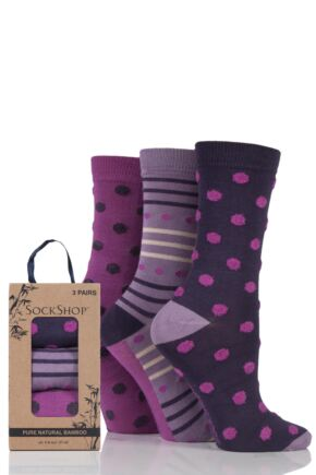 Ladies 3 Pair SockShop Gift Boxed Bamboo and Feather Striped Socks Deep Fuchsia 4-8