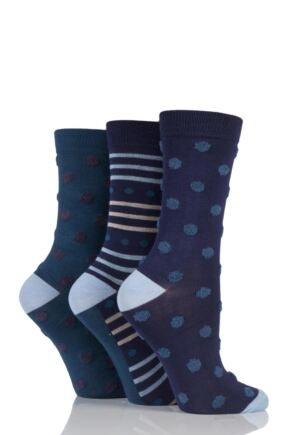 Ladies 3 Pair SockShop Feathered Spot Bamboo Socks In Gift Box