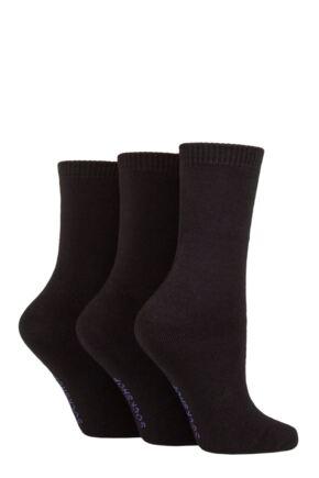 Ladies 3 Pair SOCKSHOP Cushioned Bamboo Boot Socks