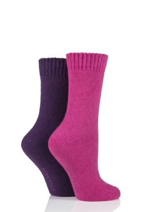 Ladies 2 Pair SOCKSHOP Wool Mix Plain Boot Socks Winterberry Pansy 4-8 Ladies