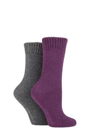 Ladies 2 Pair SOCKSHOP Wool Mix Striped and Plain Boot Socks Beetroot Plain 4-8 Ladies