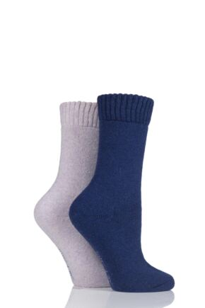 Ladies 2 Pair SockShop Wool Mix Plain Boot Socks