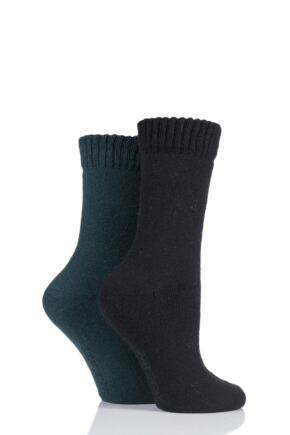 Ladies 2 Pair SockShop Wool Mix Plain Boot Socks