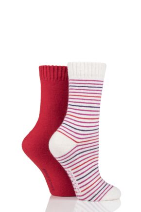Ladies 2 Pair SOCKSHOP Wool Mix Striped and Plain Boot Socks Garnet Rose 4-8 Ladies