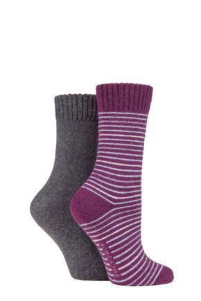 Ladies 2 Pair SOCKSHOP Wool Mix Striped and Plain Boot Socks Beetroot Stripe 4-8 Ladies
